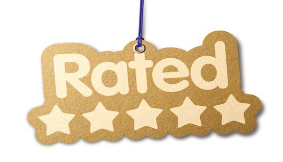 RATED FIVE STAR shaped label