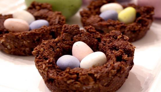 No Bake Chocolate Egg Nests