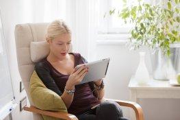 Caucasian Woman Using  Tablet