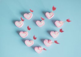 Pink Marshmallow Hearts Pierced With Cupid's Arrows