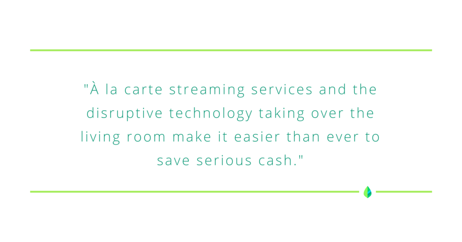 """À la carte streaming services and the disruptive technology taking over the living room make it easier than ever to save serious cash."" MintLife Blog"