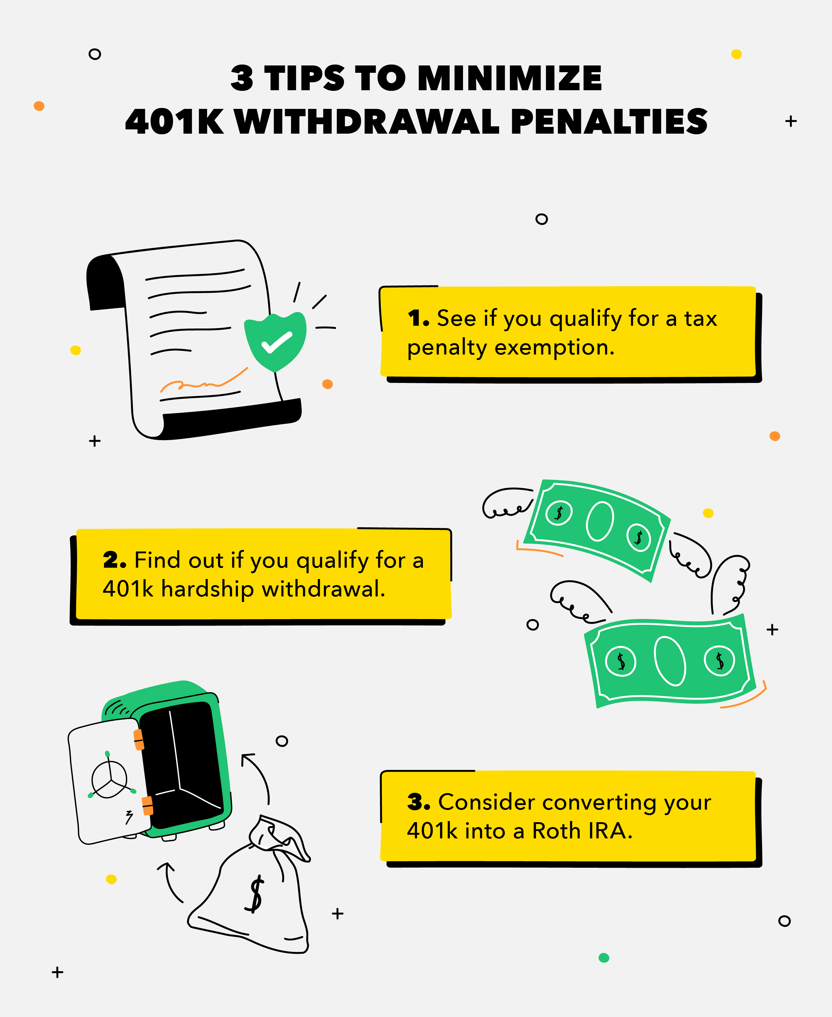 Tips to minimize 401,000 withdrawal penalties
