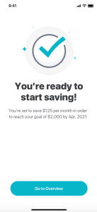 Mint Goals iOS - Congratulations on setting your goal