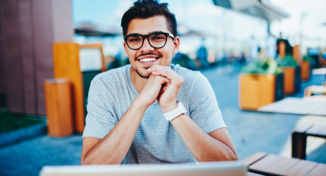 Portrait,Of,Happy,Bearded,Student,In,Optical,Eyeglasses,Laughing,While