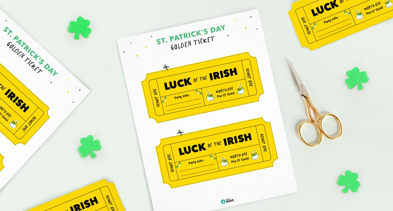 Mockup St. Patrick's Day Golden Ticket