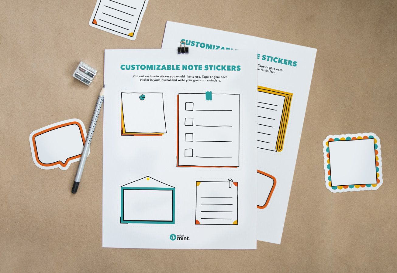 Customizable Note Stickers Mockup