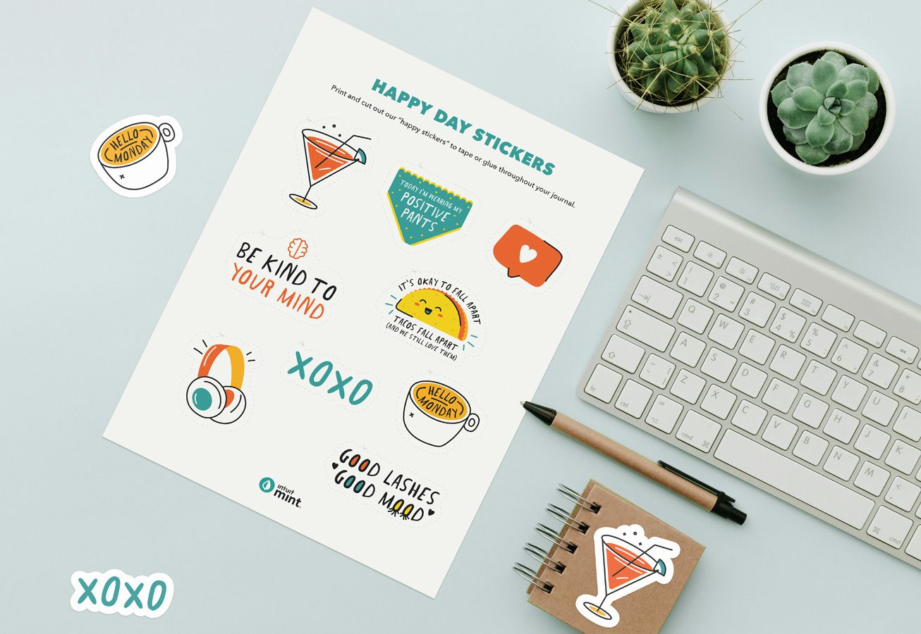 Happy Day Stickers Printable Mockup