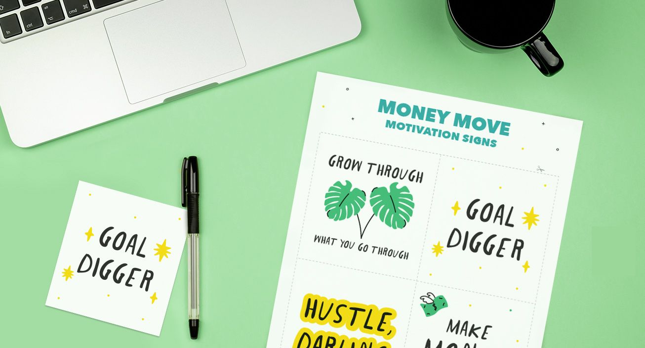 Money move motivational signs mockup