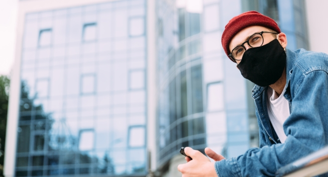 Candid,Portrait,Of,Male,Hipster,Wearing,Protective,Face,Mask,And