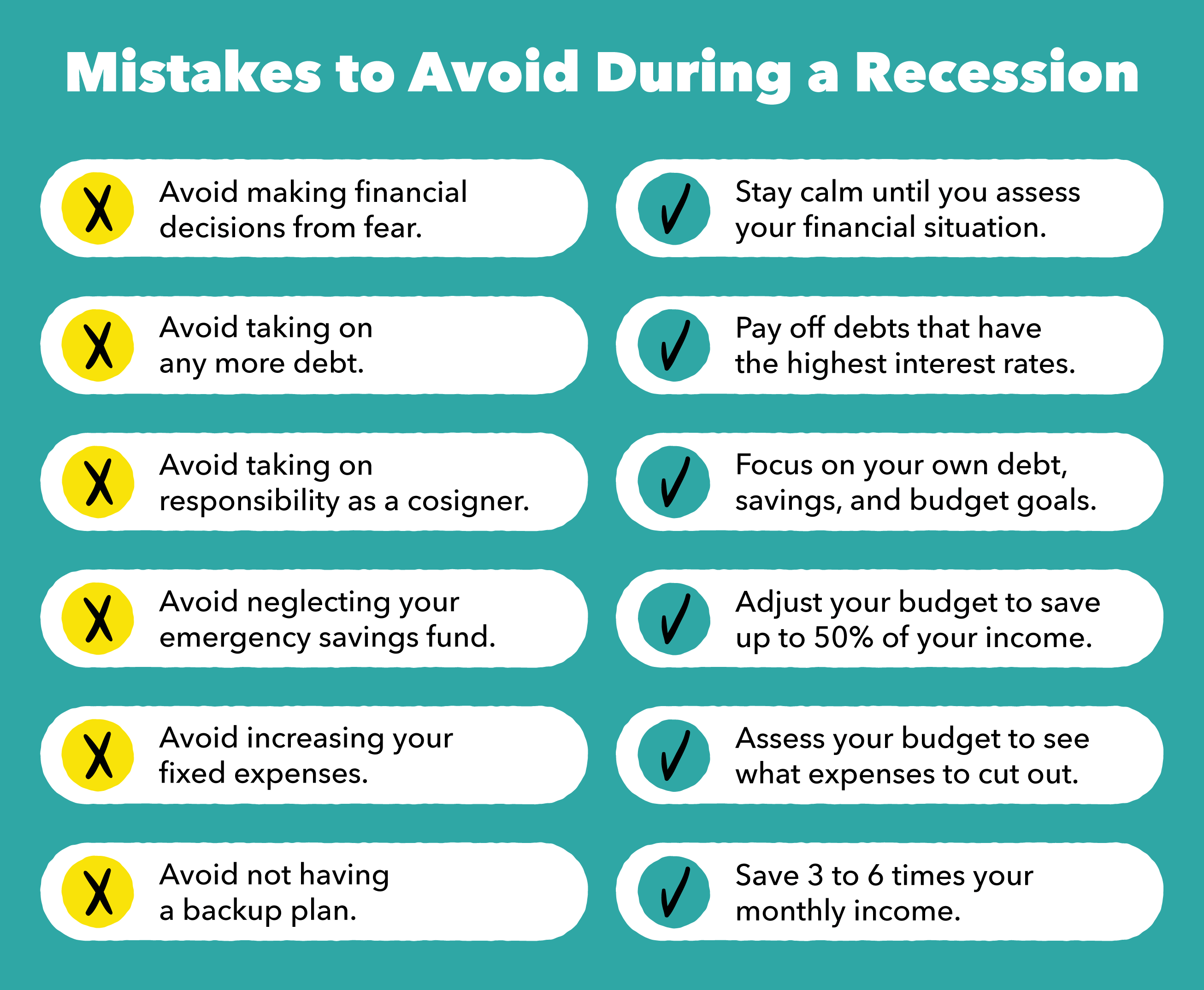 Mistakes to Avoid During a Recession