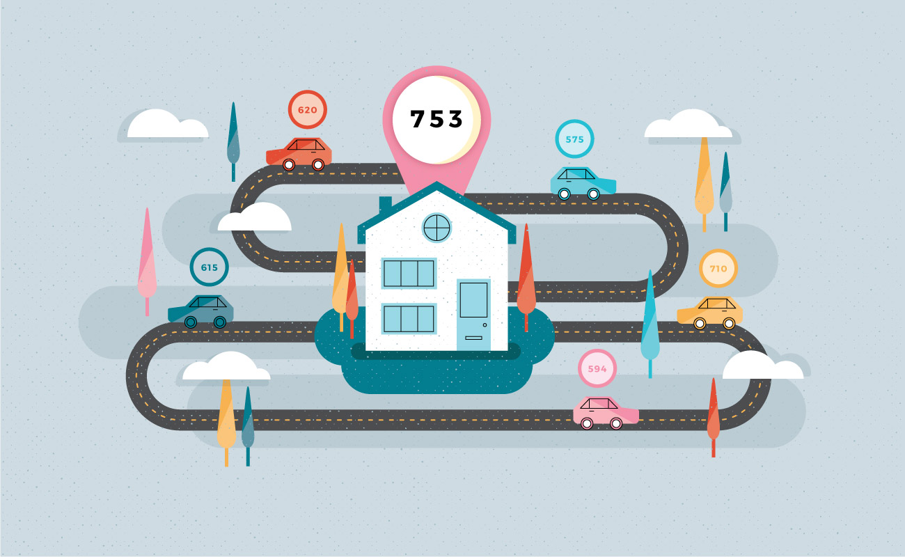 illustration that shows average credit scores for buying a home and a car
