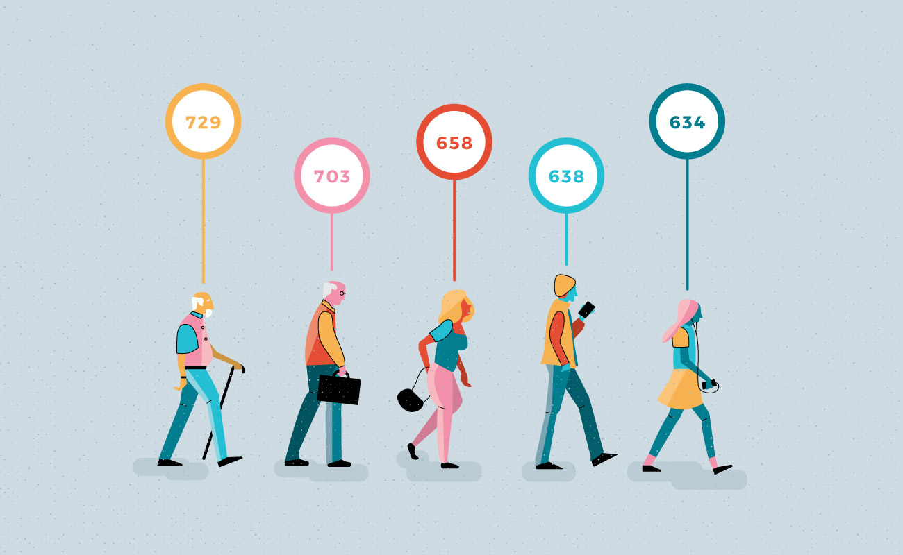 illustrations of people of all ages and their average credit scores