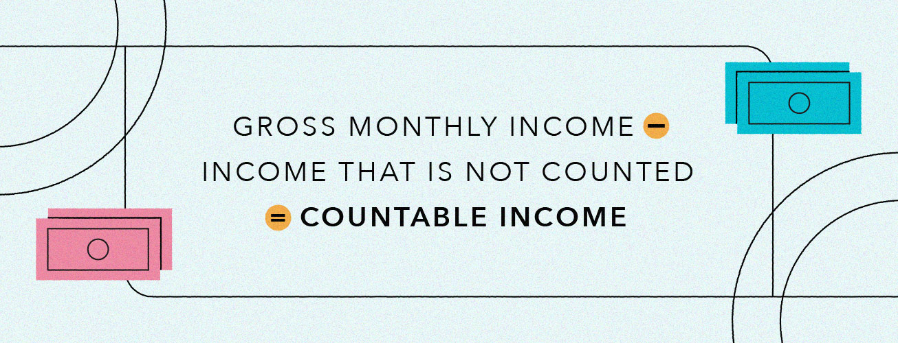 gross monthly income minus income that is not counted equals your countable income