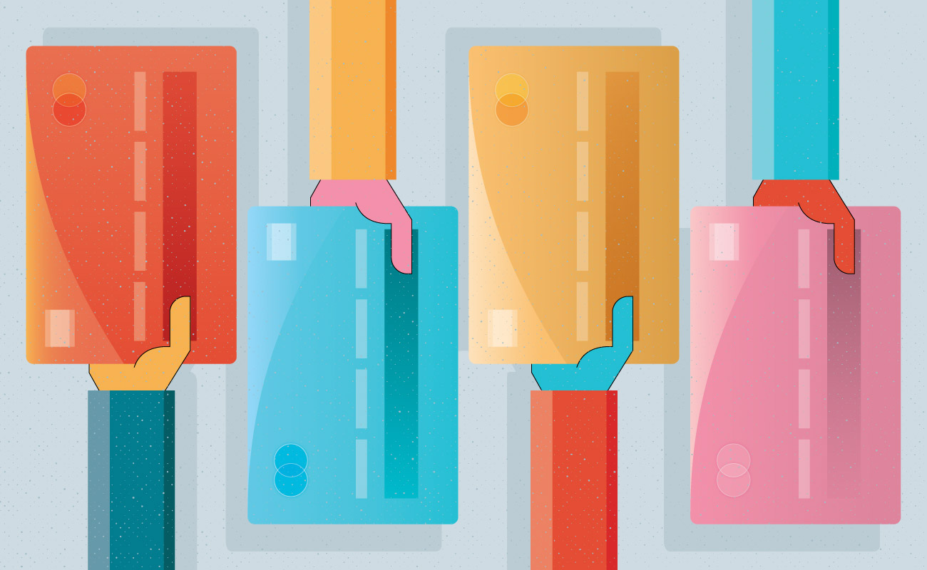 credit card illustration representing the different types of credit