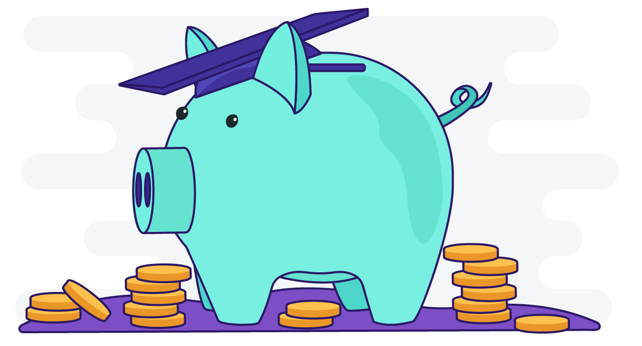 Illustration of piggy bank with graduation cap on and coins around it