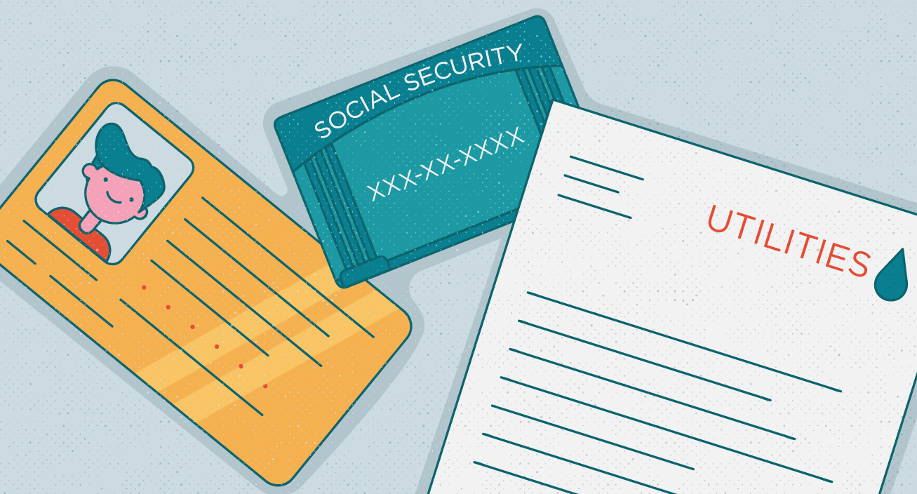 Illustration of an ID, social security card, and other documents.