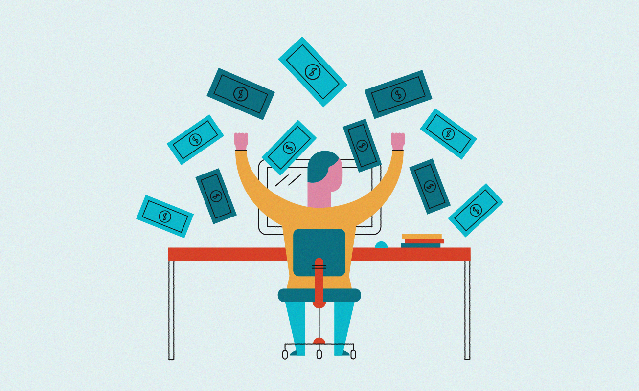 man-at-desk-making-money-illustration
