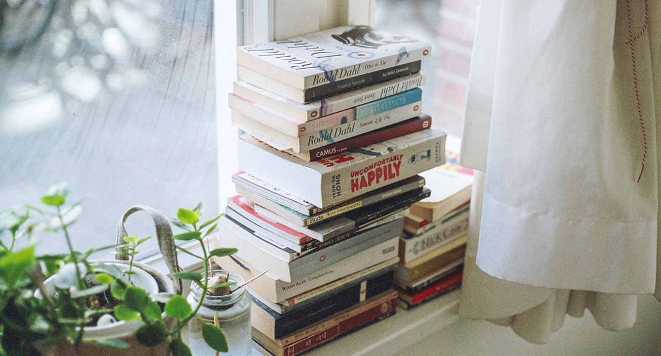 books on a window sill
