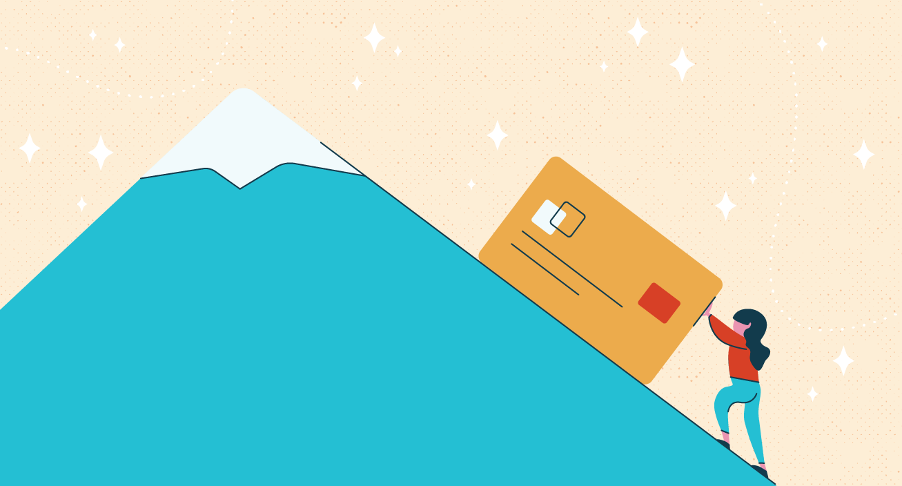 Woman pushing credit card up a hill