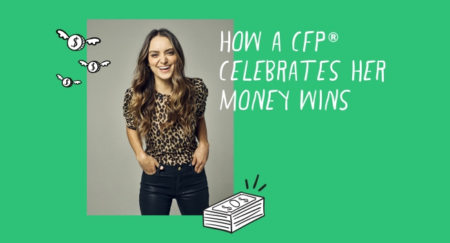 "Brittney Castro, CFP Headshot with ""How a CFP Celebrates her Money Wins"" text"